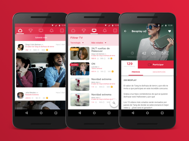 Video Contests App Preview tabs video contests material design android