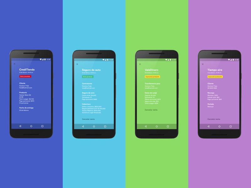ConCrédito Products mobile android md material design