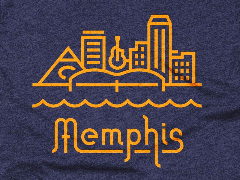 Memphis skyline lettering linear tee memphis