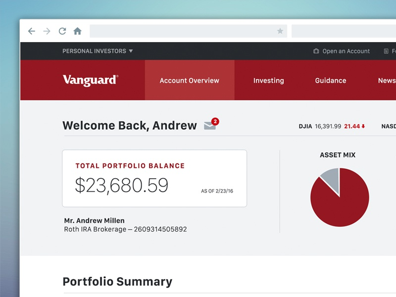 Vanguard Dashboard Refresh dashboard ui web design