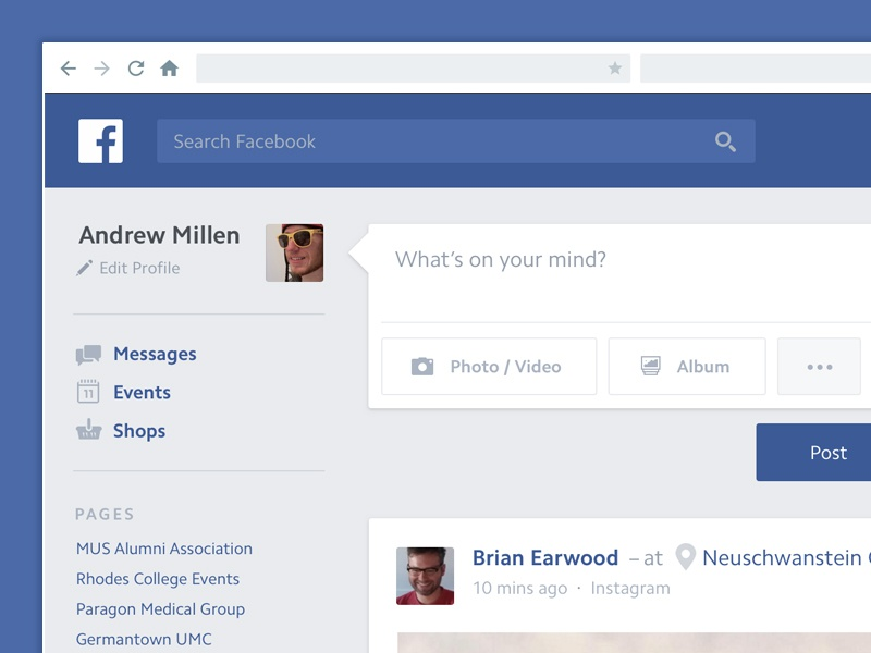 Facebook UI Refresh blue white simple clean ui facebook