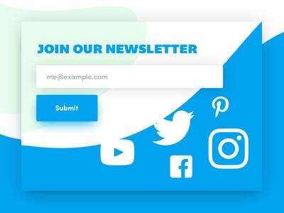 Fluid Footer social media newsletter web design footer