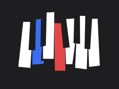 French Blues illustration music blues piano flag french