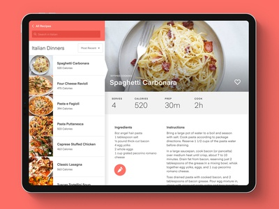 Meal Planner Concept: iPad View