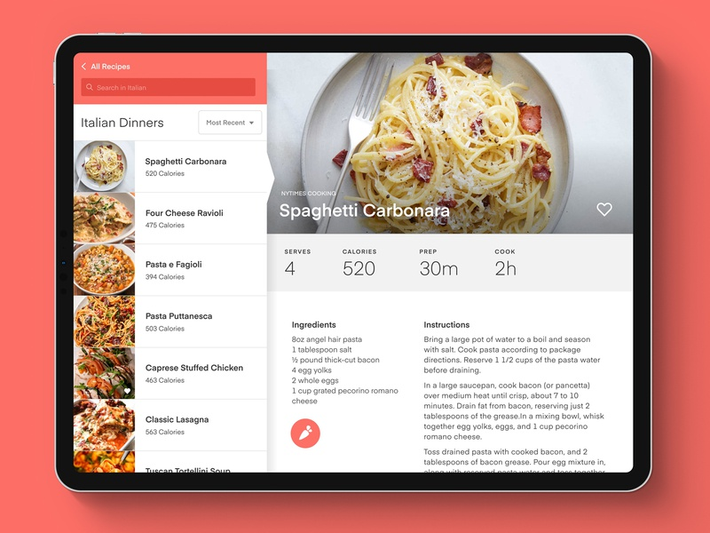 Meal Planner Concept: iPad View product design responsive design ui design app