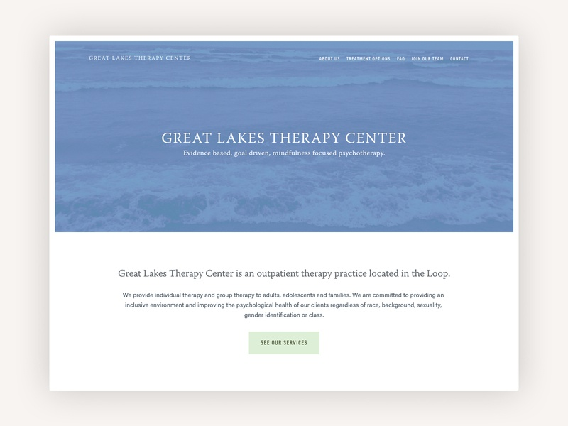 Great Lakes Therapy Center web design website design squarespace chicago therapy website