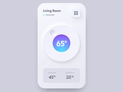 Neumorphic Thermostat temperature thermostat device phone mobile app smart home neumorphism neumorphic ixd interaction design prototype animation ui design ui