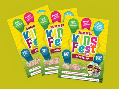 kids summer party camp flyer template download