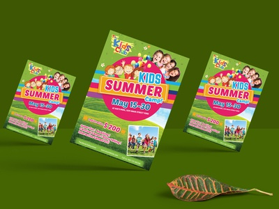 kids festival summer camp party flyer template