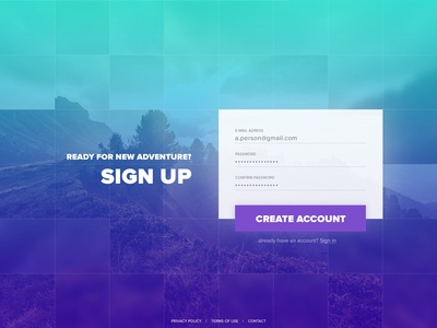 Sign up landing page signup dailyui