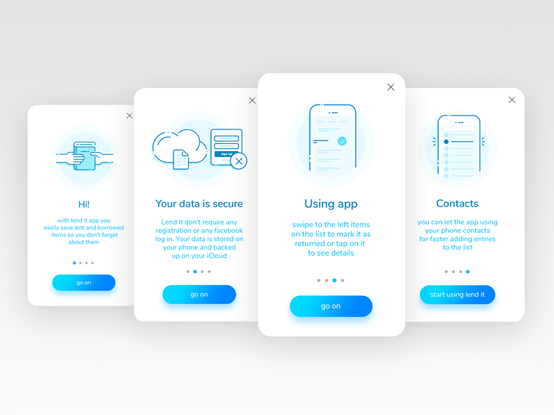 Onboarding in Lend it app gradient buttons line icons onboarding