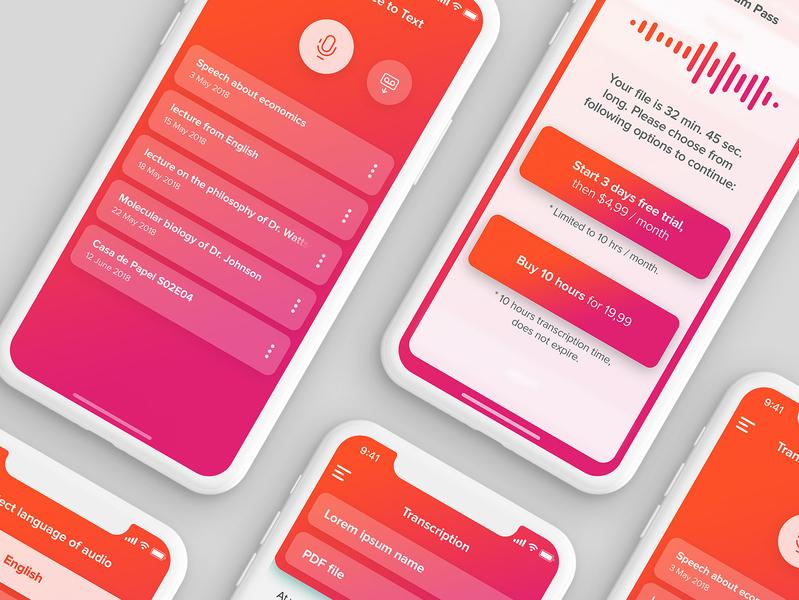 Transcribe App pink orange transcription ios application app