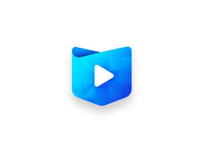 Mediapocket logo play blue gradient gradient media logo logo 3d logo