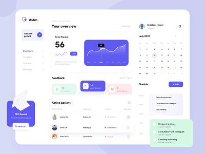 Healthcare dashboard minimal icon vector website web ux design ui