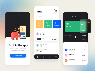 Mobile Banking App Design Concept finance concept design simple black white credit card checkout bank account personal mobile ui catchy minimalistic financial app banking app easy to use mobile banking finance app app mobile ux design ui