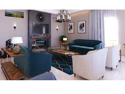 Modern Apartment sofa chair color stone architecture render interior design