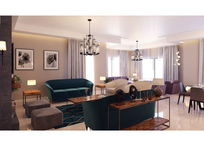 Modern Apartment design interior render architecture stone color chair sofa