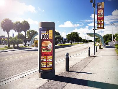 Urban Poster Mockup branding mock up lamp street flyer preview ads street mockup poster urban