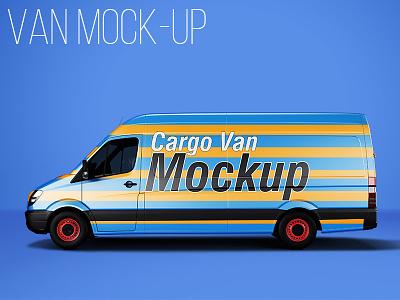 Van Mockup van mockup car mock-up branding brand cargo delivery print shipping transport