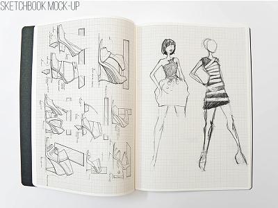 Sketchbook Mockup storyboard shoes dress concept template paper pencil action art mockup book sketch