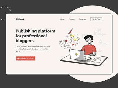 Blogging Platform landing page design blog blogging website webdesign design ux ui