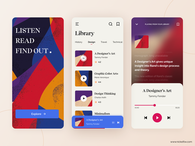 Designer Audio Book music app social app book flat art clean minimal reading listening abstract audio player lyrics red mobile app ux ui pastel shapes audiobook app
