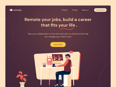 Remote Work collaboration workfromhome uxdesign hero section teamwork pandemic jobs remote work team meetings remotework website landing page design minimal illustration clean ui visual design design ui