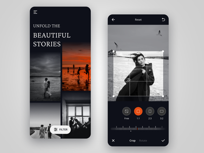 Photo Editor orange model memories blackandwhite rotate crop dark ui black gallery photoeditor editor photo mobile app minimal clean ui visual design design app ux ui