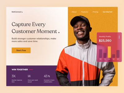 MetConnect CRM customer success earning colorful chart home page gradient webdesign website software business crm branding herosection landingpage minimal clean ui visual design ux ui