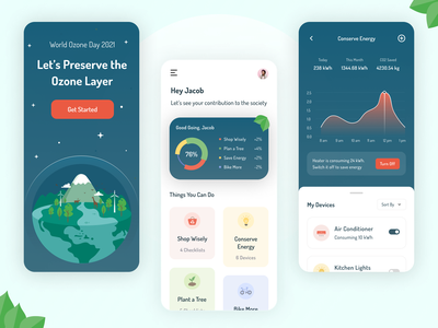 World Ozone Day 2021 conserve protect world ozone day mobile energy green nature ozone day earth app illustration minimal design clean ui visual design ux ui