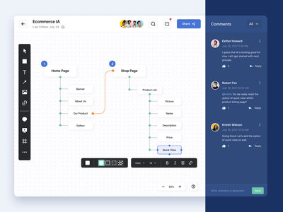 Whiteboard Platform product blue digital comments ia editor userflows teams platform whiteboard collaboration website clean ui minimal design visual design ux ui