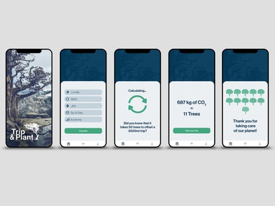 Trip & Plant app concept design app ui