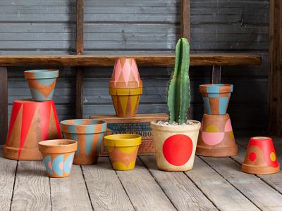 Pots colors shapes painted pot
