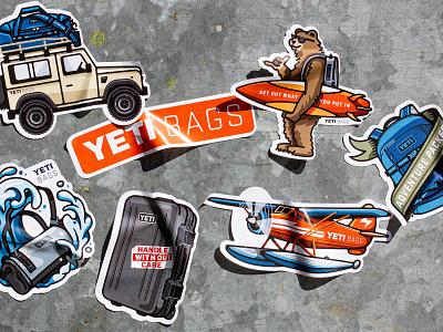 YETI Bags Sticker sheet stickers yeti bags yeti gold lunchbox karl hebert