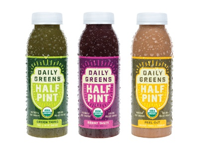 Half Pint karl hebert gold lunchbox daily greens half pint juice packaging