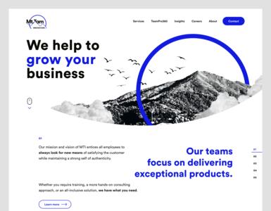 MTI Web website web design web ux ui ux ui layout landing page lander homepage design consultancy company website