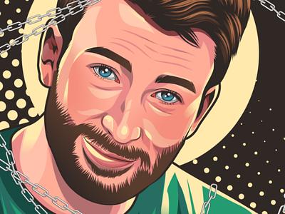 Chris Evans illustration vector character cartoon portrait