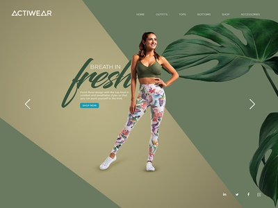 actiwear landingpage 2 sportswear leggings young women beautiful landing page landingpagedesign uidesign creative design fit women fitness yoga freshness green activewear
