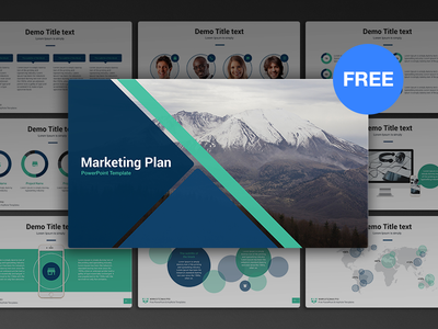 free powerpoint template: marketing planhislide.io - dribbble, Modern powerpoint