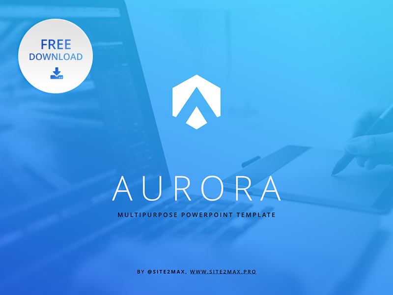 Free Powerpoint Template Aurora Blue By Hislide Dribbble