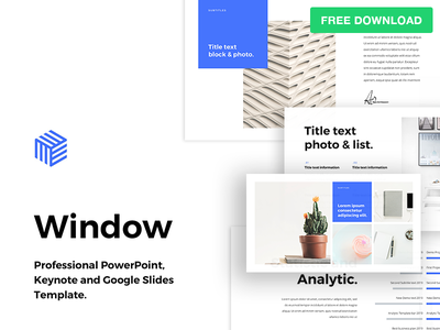 """Free PowerPoint Template """"Window"""" minimal print timeline report business freebie free infographic slide powerpoint pptx ppt"""