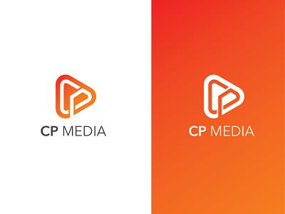 Letter CP MEDIA studio art simple letter play minimalist entertainment media logo