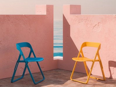 Chairs spain murallaroja chairs mediterranean summer pink architecture blue orange colourful cinema 4d abstract render 3d
