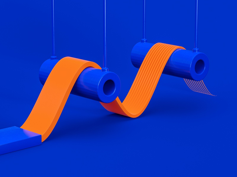 M - 36 Days of Type 7 neat smooth process factory blue adobe design orange colourful cinema 4d abstract render 3d