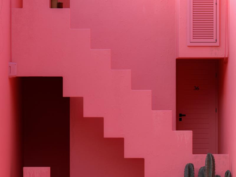 N - 36 Days of Type 7 36daysoftype07 36daysoftype cactus murallaroja pink red architecture mediterranean vintage summer adobe design colourful cinema 4d abstract render 3d