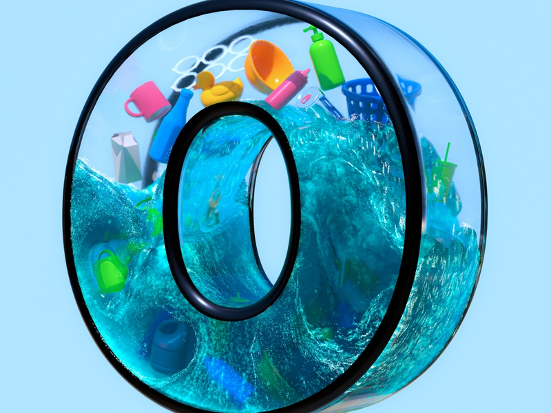 O - 36 Days of Type 7 36daysoftype greenpeace waste cleanocean sea singleuseplastic plasticwaste plastic ocean environmental enviroment adobe design cinema 4d render 3d