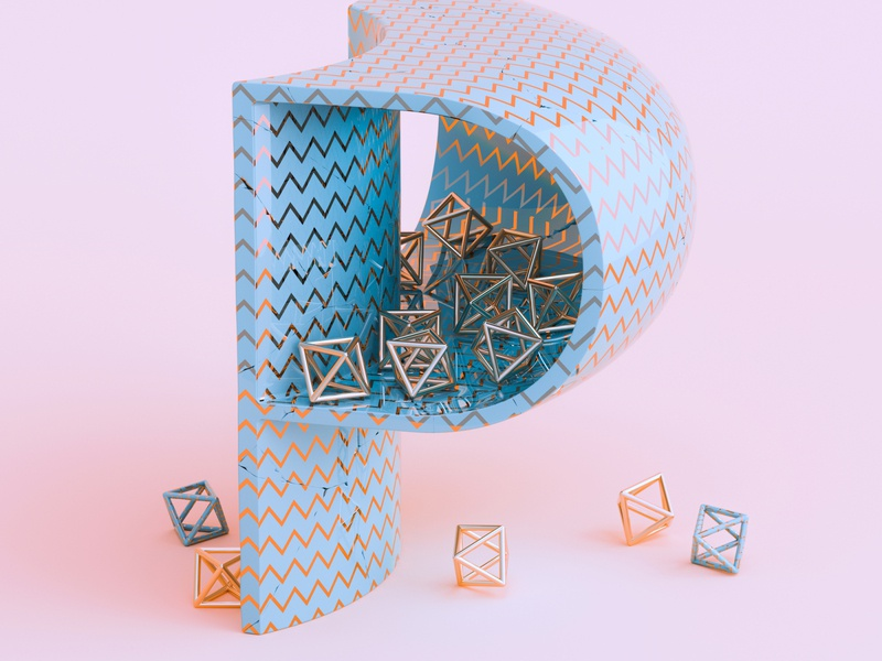 P - 36 Days of Type 7 36daysoftype warm diamond gold pink adobe design colourful cinema 4d abstract render 3d