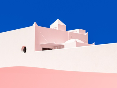 Dá Licença mediterranean architecture pink blue vintage design colourful cinema 4d render 3d