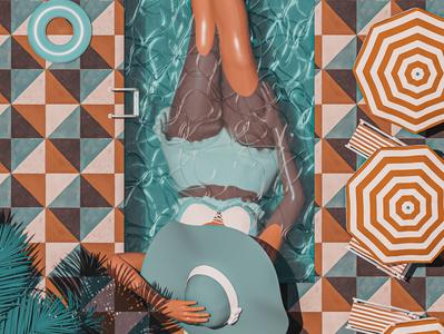Isolation lockdown covid isolation summer mediterranean vintage blue orange colourful abstract cinema 4d render 3d