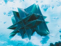 Arctic weird cube space scifi crash cruise ship iceburg ice frozen snow arctic blue design abstract cinema 4d render 3d